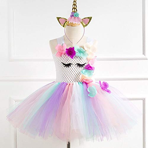 JEWH Unicorn Costume for Girls | Flower Pastel Rainbow Princess Little Girls Birthday Party Pony Tutu Dresses for Children 2-12 Kids Halloween Unicorn Costume( Pony - 4T) -