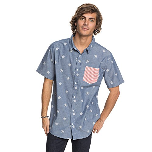 Quiksilver Mens Dress Shirt - Quiksilver Men's 4TH July Shirt Woven, Used Blue 4TH July, S