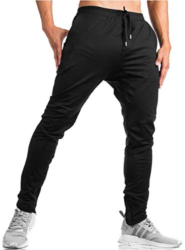 TBMPOY Men's Tapered Running Jogger Athletic Pants Gym Training Pants Zipper Bottom(Black,US ()