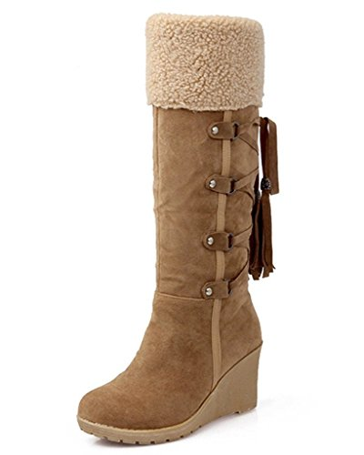 (Maybest Women's Winter Back Lace Up Snow Boots Warm Knee High Faux Suede Tassels Wedge Boots Brown 6 B (M) US)