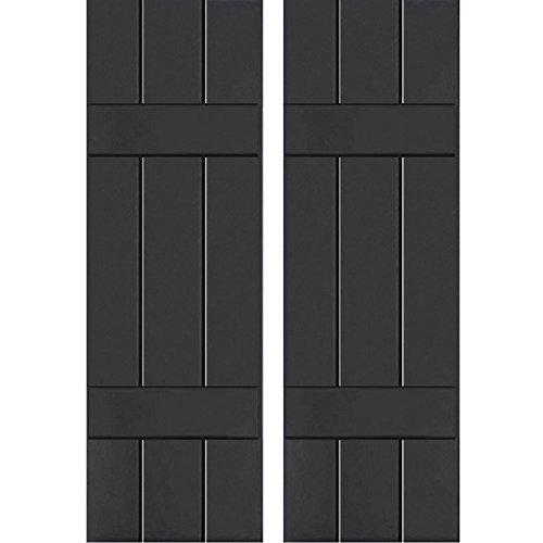 (Ekena Millwork CWB12X025BLC Exterior Three Board Composite Wood Board-N-Batten Shutters (Per Pair) with Installation Brackets, Black, 12