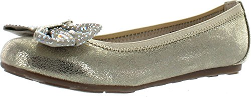 Stuart Weitzman Girls Fannie Jewel Designer Dress Flats Shoes,Champagne Gold/Metallic,3