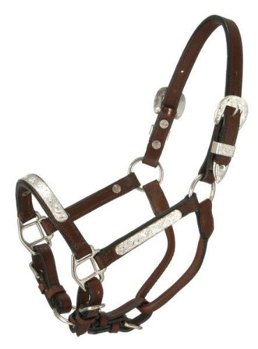 - Tough-1 Royal King Dark Oil Leather Horse Pony Mini Silver Bar Show Halter. Western Showmanship Halter (Pony)