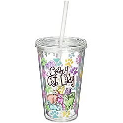 Spoontiques Cat Lady Cup with Straw, , Multi