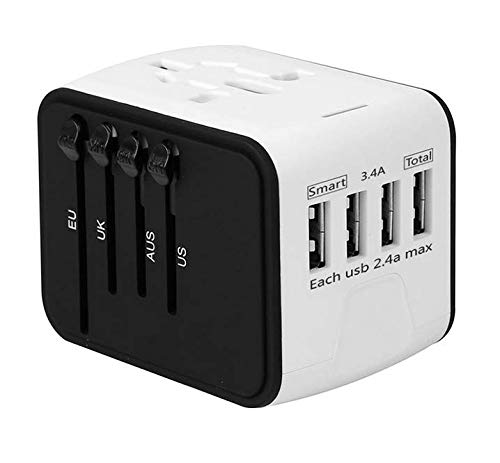 - International Travel Adapter Universal Power Adapter Worldwide All in One 4 USB with Electrical Plug Perfect for European US, EU, UK, AU 160 Countries (White)