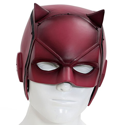 [Dare Devil Mask Matt Murdock Cosplay Adult Red PVC Halloween Helmet] (Daredevil Costumes Replica)