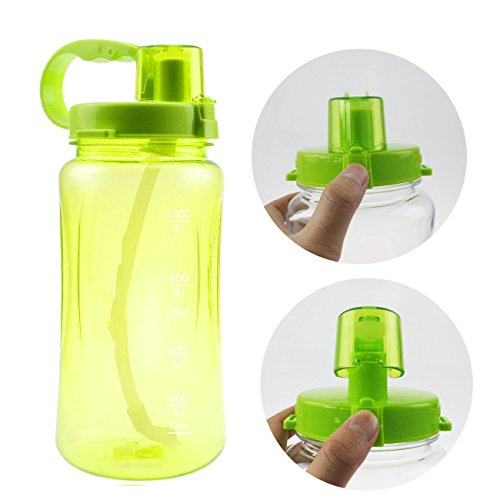 Lonni 1L Sports Water Bottles, Portable Wide Mouth Big Plastic Bottle Leakproof Space Cup Travel Mugs with Scale,Straw…