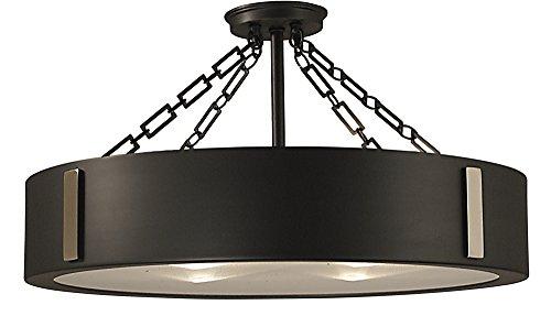 Framburg 2416 CH/PN 4-Light Oracle Flush/Semi-Flush Mount, Charcoal/Polished Nickel ()