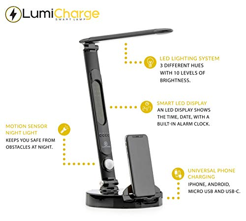 LumiCharge LED Smart Adjustable Desk Lamp and Universal Phone Charging Dock - Touch Control 3 Light Hues, 10 Brightness Levels, Motion Light and Clock with LED Display - USB, Micro USB, USB-C