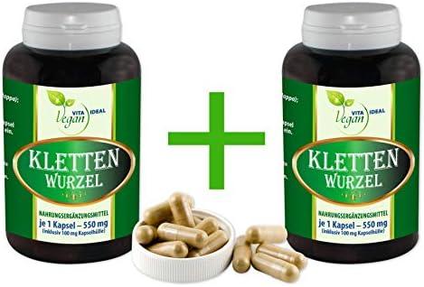 """VITAIDEAL VEGAN®""""MEGA-SPAR-POT"""" 2x360 Klettenwurzel (Burdock root) pflanzliche Kapseln je 550 mg, rein natürlich ohne Zusatzstoffe."""