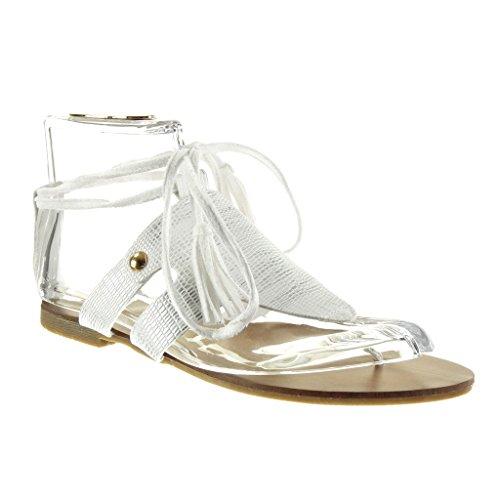 Angkorly - damen Schuhe Sandalen - Offen - Schlangenhaut - String Tanga - Fransen Blockabsatz 1.5 CM - Weiß