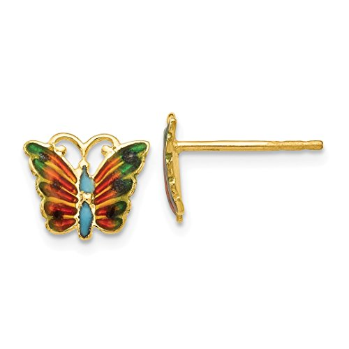 ICE CARATS 14kt Yellow Gold Enameled Butterfly Post Stud Earrings Earring Animal Fine Jewelry Ideal Gifts For Women Gift Set From Heart 14kt Gold Enameled Earrings