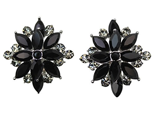 - Faship Stunning Black Crystal Floral Clip On Style Earrings