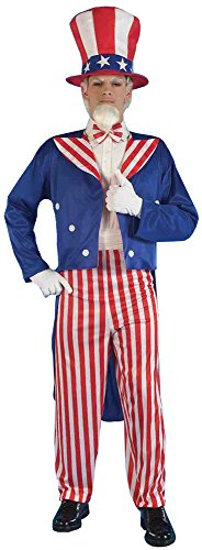 (UHC Men's Uncle Sam Outfit 4th July Patriotic American Theme Fancy Costume, OS (Up to)