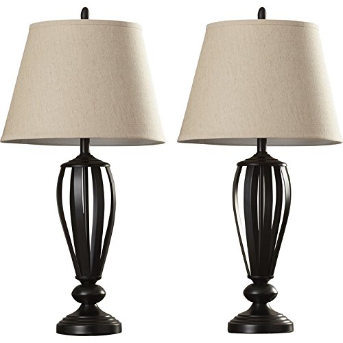 29.6'' Metal Open Work Table Lamps with Fabric Shade in Oil Rubbed Bronze (Set of 2) by Three Posts