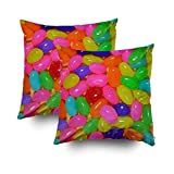 jelly bean cotton candy machine - TOMWISH 2 Packs Hidden Zippered Pillowcase Colorful Jellybean Candy 16X16Inch,Decorative Throw Custom Cotton Pillow Case Cushion Cover for Home