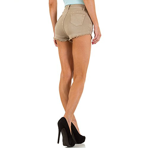 High Waist Hot Pants Shorts Für Damen , Beige In Gr. Xs bei Ital-Design
