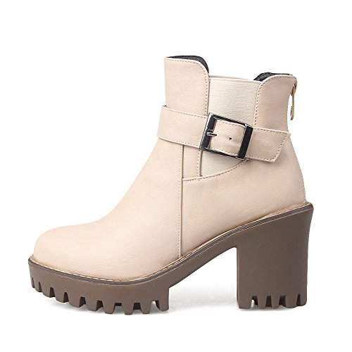 Low Round Top Womens High Toe AllhqFashion Boots Apricot PU Heels Closed Solid aFIRq