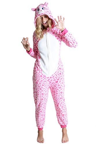 Unisex Adult Pajamas Pink Leopard Animal Onesie Costume (Pink Leopard, Medium/Large)