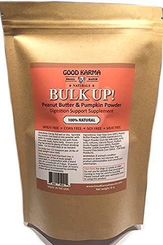GOOD KARMA NATURALS All Natural Digestion Support, Diarrhea Relief & Anal Gland Health Supplement for Dogs Bulk Up 100% Natural Dog Digestive Fiber Pumpkin Powder (8oz Bag)
