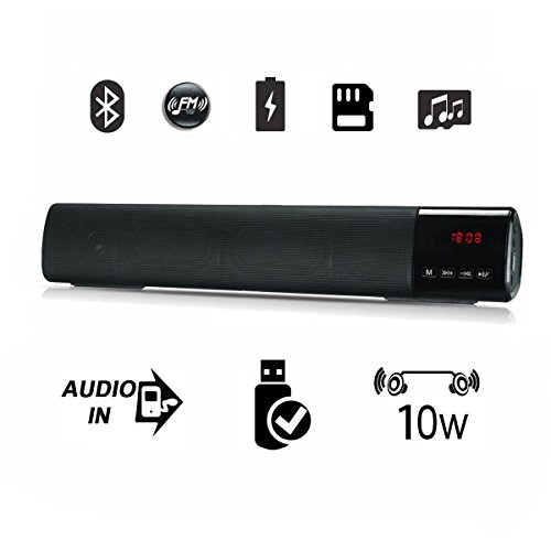 Bluetooth Speaker, Suliko 10W Bluetooth sounds bar with Clock, FM Radio, 1800mah Rechargeable Battery, Built-in Mic, Dual-Driver Sounds Bar with Superior Sound for Bedroom, Kitchen, Party - Black ()