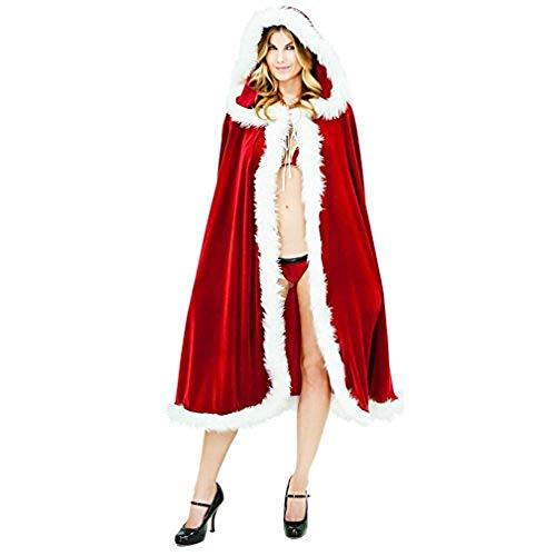 Women's Christmas Costume Velvet Hooded Cape Cloak Burgundy Plus Size Mrs Santa Jacket Hoodie Evening Party