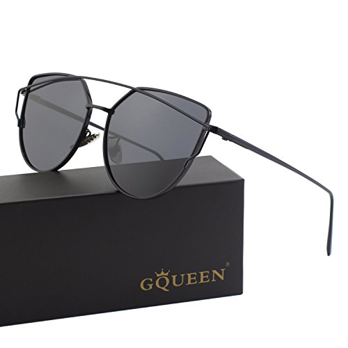 GQUEEN Cat Eye Mirrored Flat Lenses Street Fashion Metal Frame Polarized Sunglasses for Women,Black - Queen Sunglasses Street