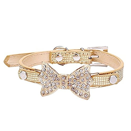Howstar Pet Collar, Puppy Classic Crystal Bowknot Dog Collar Adjustable Leather Buckle Cute Bling Necklace