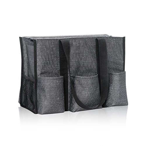 Thirty One Zip Top Organizing Tote In Charcoal Crosshatch   No Monogram   4451