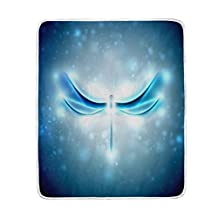 ALAZA Home Decor Abstract Blue Dragonfly Blanket Soft Warm Blankets for Bed Couch Sofa Lightweight Travelling Camping 60 x 50 Inch Throw Size for Kids Boys Women