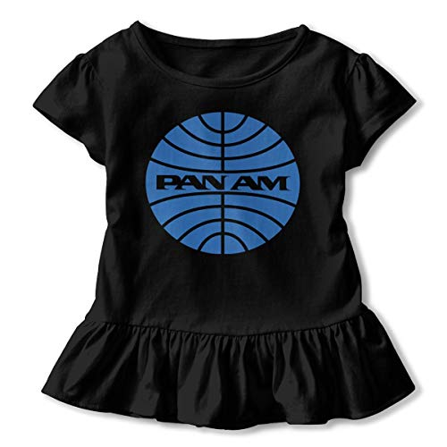 JVNSS Pan American World Airways Shirt Funny Toddler Girls' Flounced T Shirts Outfits for 2-6T Baby Girls Black ()