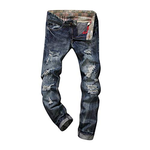 MILIMIEYIK Men Jeans, Men's Ripped Slim Fit Straight Denim Motorcycle with Broken Holes Younger-Looking Pants,Skinny Jeans