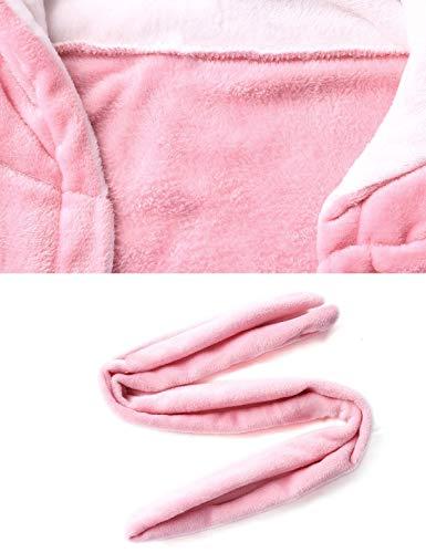 Polaire Chaud Peignoir Robe Chauds À Et Femmes Rose Bain Hiver De Abollria Epais Capuche Chambre Pour twEdFw