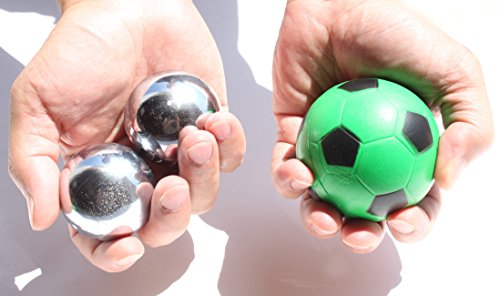 USA (2) Heavier Iron Ball with Chime + (1) Soccer Squeeze Ball Stress Relief Finger Therapy After Hand Exercise Grip Ball (X Man Mangeto's Toy Iron Balls)