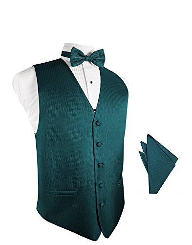 Teal Herringbone Tuxedo Vest with Bowtie & Pocket Square Set ()