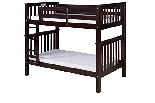 Camaflexi Santa Fe Mission Tall Bunk Bed Attached Ladder, Twin Over Twin, Cappuccino