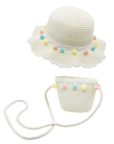 Bienvenu Kids Girl Kids Girl Colorful Balls Summer Beach Pool Floppy Dress Sun Hat, Hat Bag Set_White