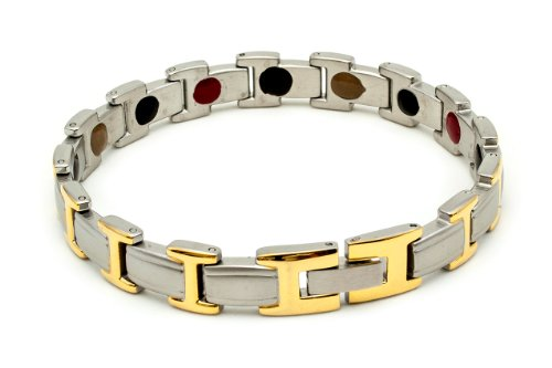 UPC 799471927793, Lady's Magnetic Therapy Bracelet - Surgical Stainless Steel w/ Gold Accent, 7.5-inch