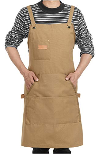 Elezay Adjustable Unisex Tool Apron with 4 Pockets+ 4 loops Back Cross size L (Khaki) from Elezay