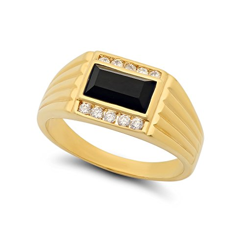 The Bling Factory 11mm 14k Gold Plated CZ Flanked Baguette-Cut Black Simulated Onyx Ring, Size 7.5 + Bonus Polishing Cloth