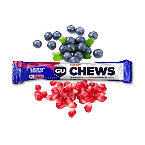 GU Energy Chews Double-Serving Sleeve, Blueberry Pomegranate, 18-Count