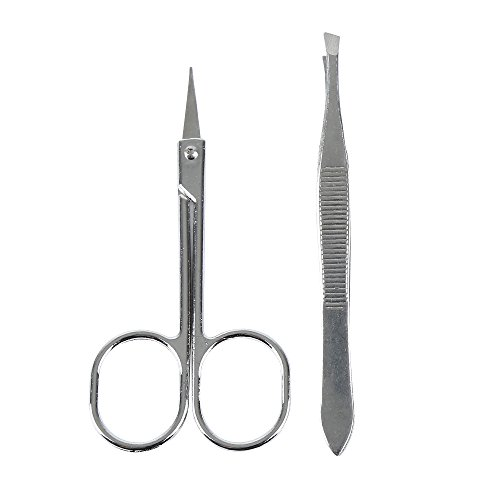 - 2PCS/set Stainless Steel Eyebrow Tweezer and Scissor Eyebrow Tweezer Kit with Brow Trimmer Scissor