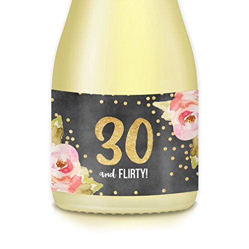 Women's 30th Thirtieth Birthday Ideas Party Decorations, Mini Champagne & Wine Bottle Decals,
