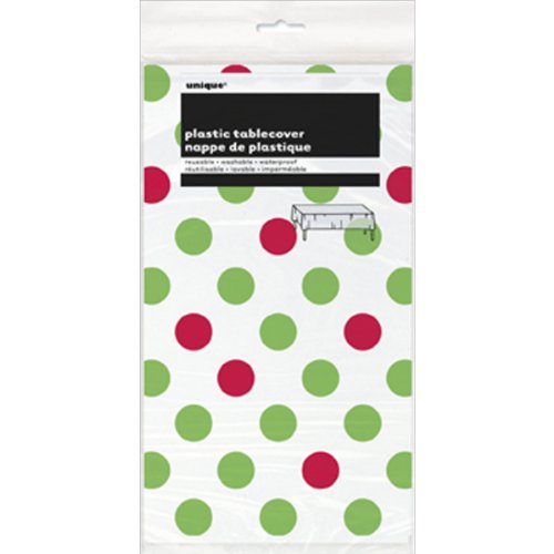 Red & Green Polka Dot Christmas Plastic Tablecloth, 108