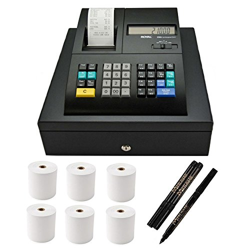 Royal 120DX Electronic Cash Register with Counterfeit Bill Detector Pen (3-Pack) & Thermal Paper (6-Pack)