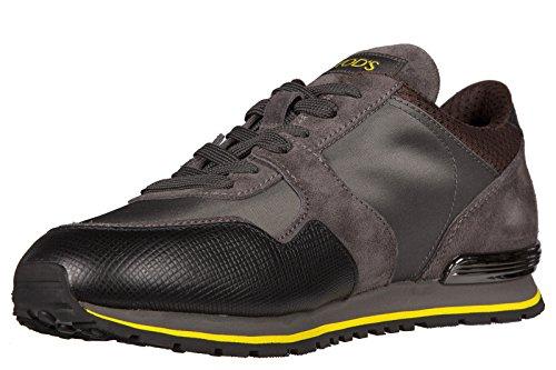 Tod's zapatos zapatillas de deporte hombres en Nylon nuevo leather details gris