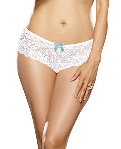 Dreamgirl 7177X Women's Plus Size Open Crotch Cheeky Boyshort Panty - 1X/2X - White
