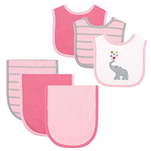 Price comparison product image Hudson Baby 6 Piece Bib and Burp Cloth Set,  Pink Elephant