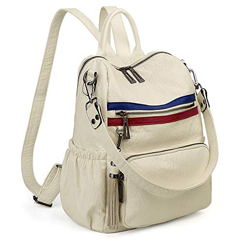 UTO Women Backpack Purse PU Washed Leather Convertible Ladies Rucksack Tassel Zipper Pocket Shoulder Bag Beige