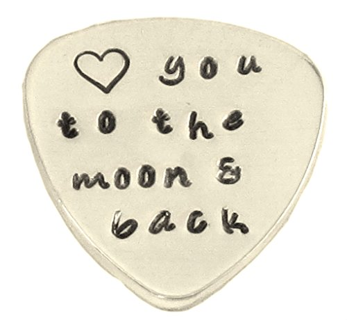 Custom Guitar Pick Love You to The Moon and Back Hand Stamped Music Lovers Men Gift for Him Birthday ()